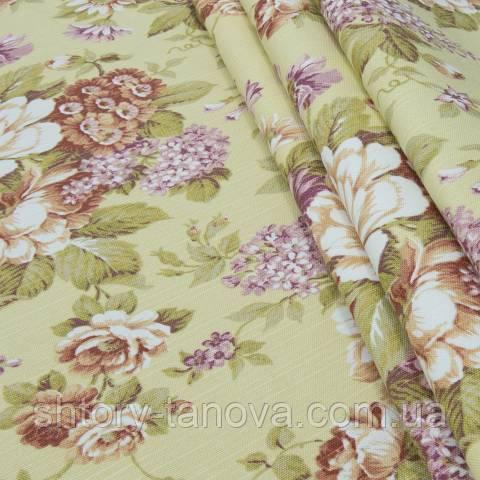 Декоративная ткань для штор, цветочный принт светло-зелёный