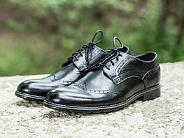 Туфли броги кожаные мужские