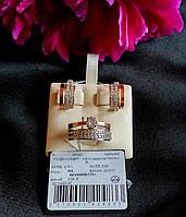 Серебряные серьги с золотыми пластинами НАТАЛИ, фото 1