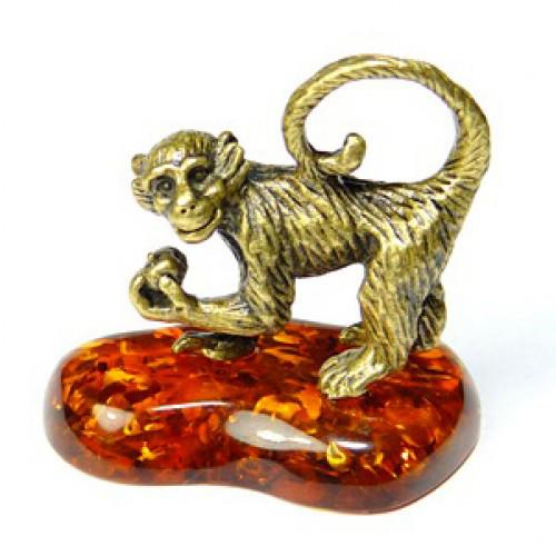 Фигурка миниатюра из бронзы и янтаря Обезьяна