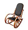 Кресло-качалка светлая,из натуральной черной кожи