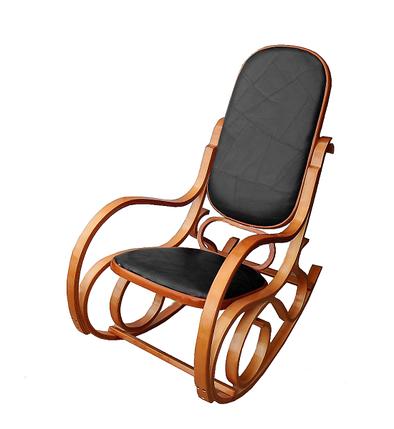 Кресло-качалка светлая,из натуральной черной кожи , фото 2