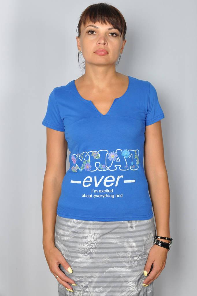 Женская летняя футболка синего цвета