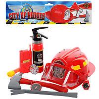 Набір пожежника 5022 A каска, вогнегасник, сокира, лом, компас, в кульку, 41-34-10 см
