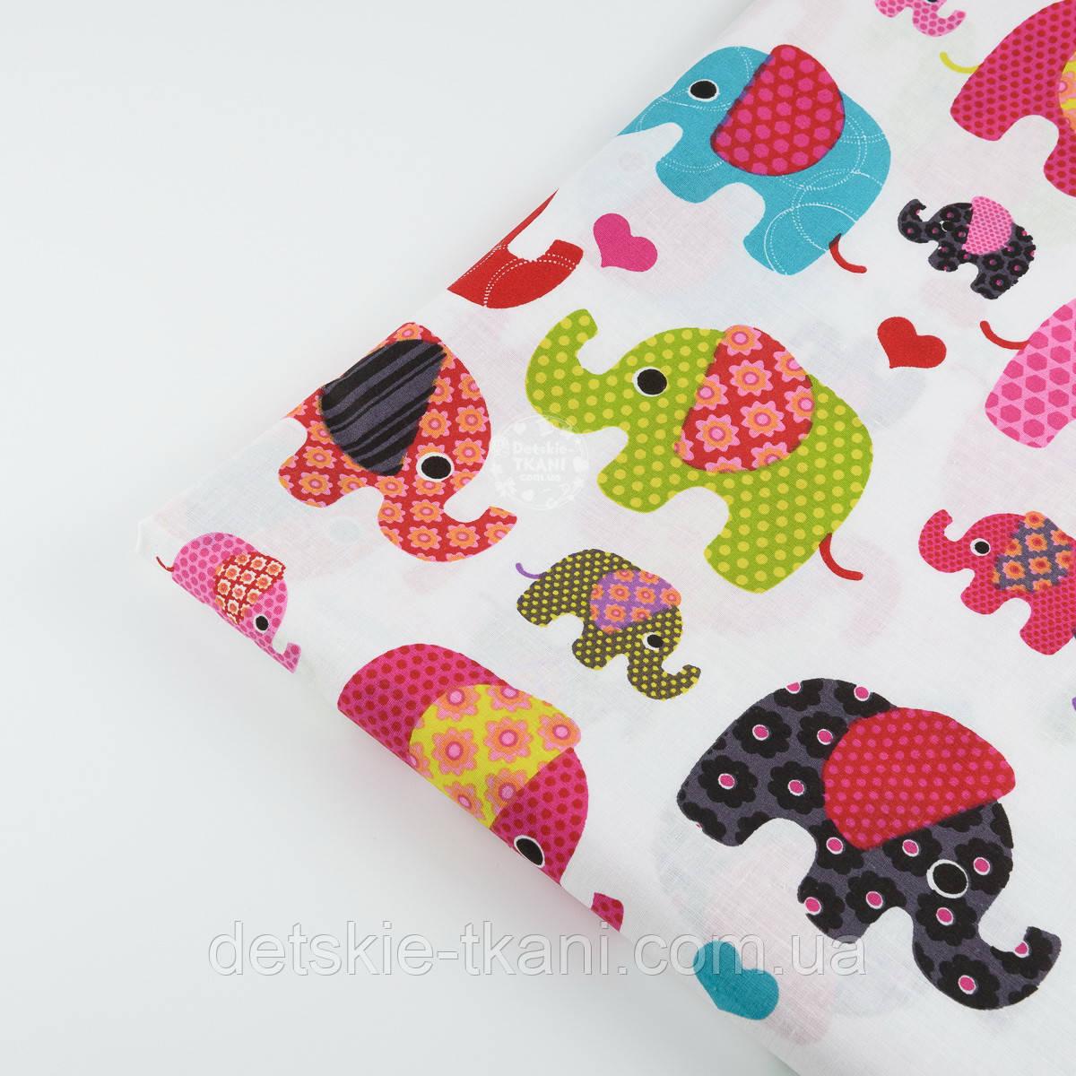 Лоскут ткани №300а   с индийскими слонами
