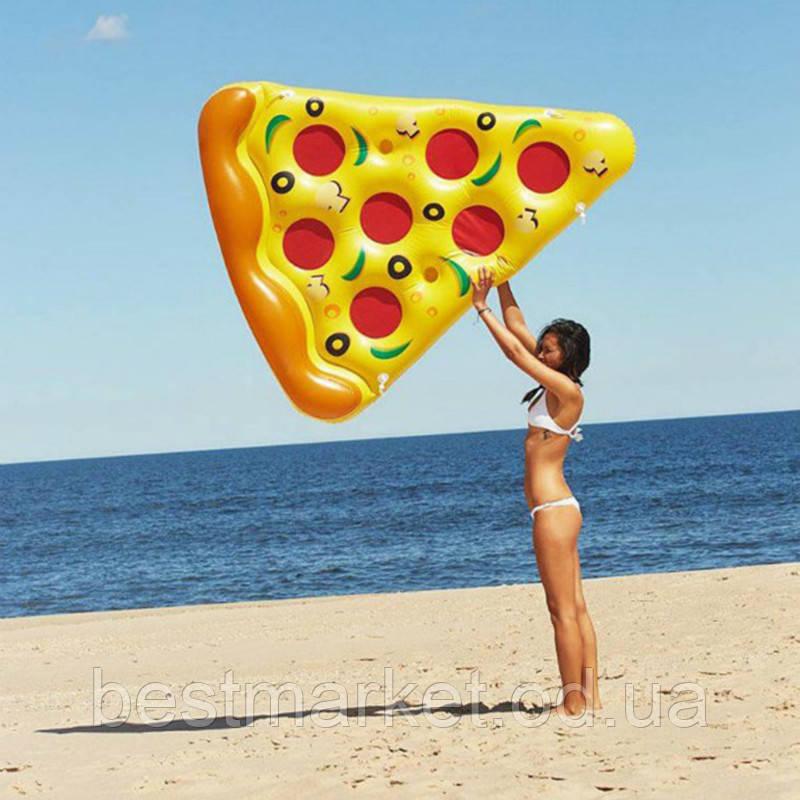 Пляжный Надувной Матрас для Плавания и Отдыха Пицца 180 х 110 см Лежак в Виде Куска Пиццы
