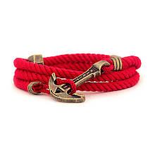 """Браслет из канатного хлопка с якорем из ювелирной латуни """"MARITIME"""" Scarlet Sails. Цвет красный"""