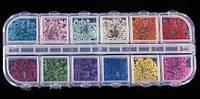 Набор сухоцветов для дизайна ногтей, 12 цветов, фото 1