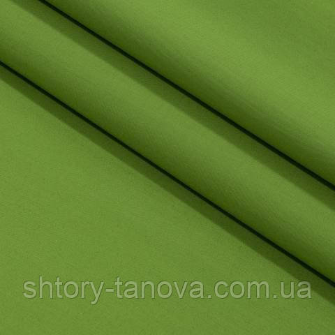 Декоративная ткань для штор, однотонная зелёная липа
