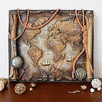 Барельеф Древняя карта мира светящаяся