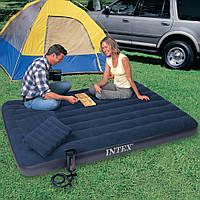 INTEX ( 152х203х22 см) Двуспальный надувной матрас + ручной насос и 2 подушки