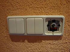 Блок из двуклавишных выключателей и диммера