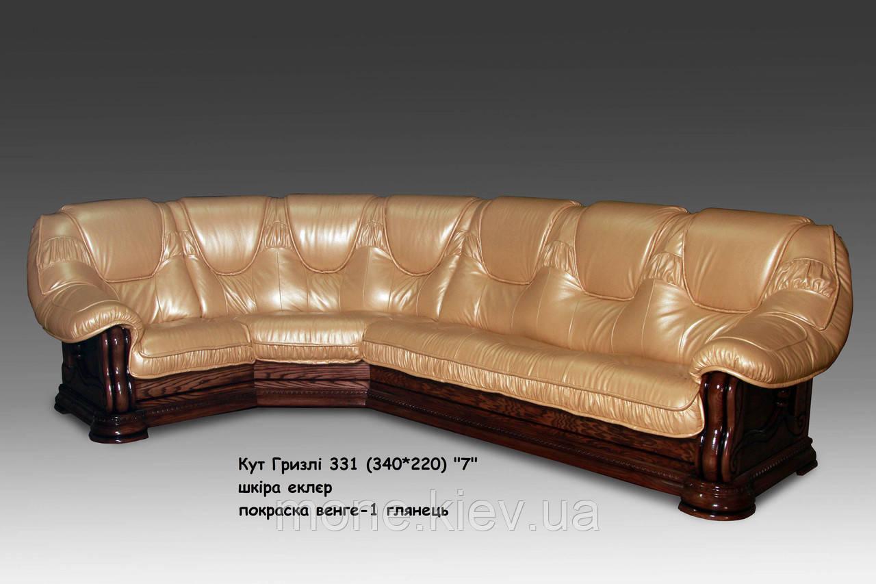 """Угловой диван со спальным местом """"Гризли"""" в коже"""