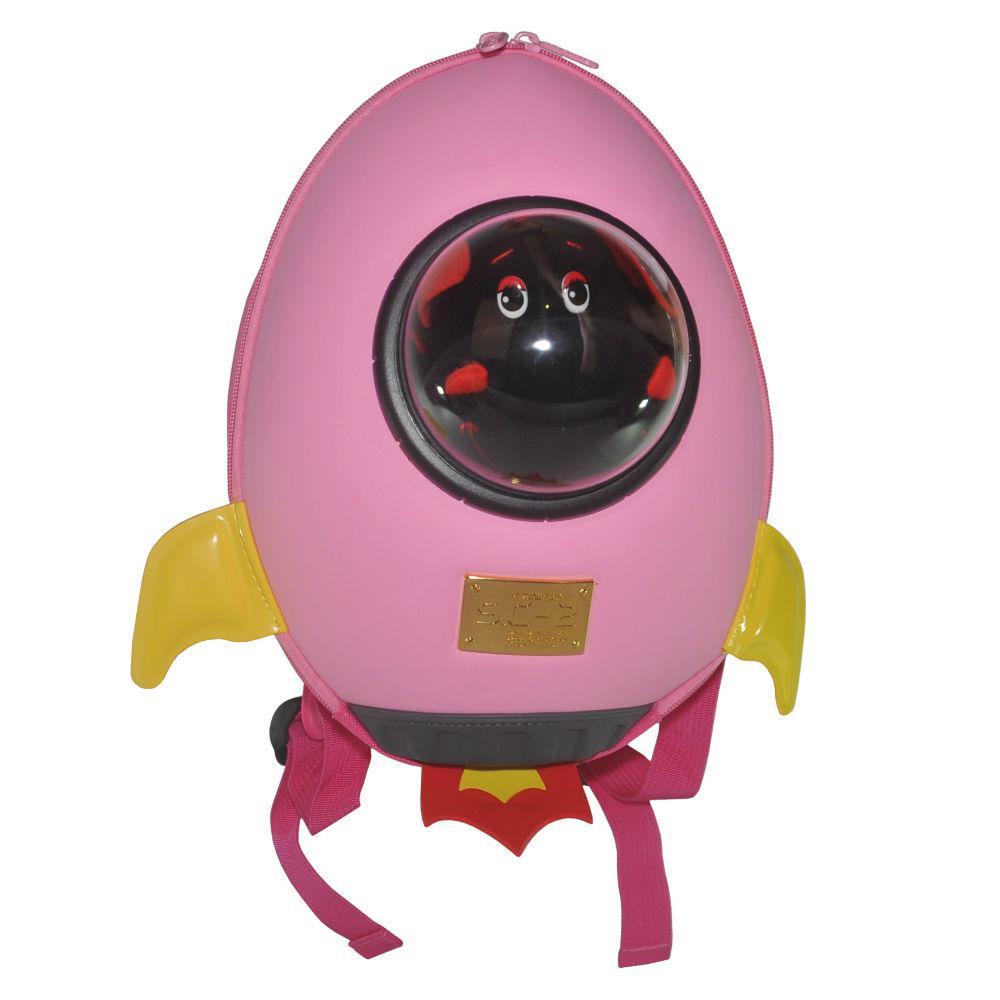 Дитячий рюкзак SUPERCUTE у вигляді ракети рожевий