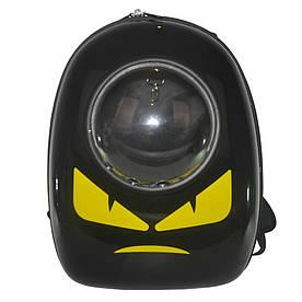 Рюкзак-переноска с иллюминатором U-Pet переноска для котов и небольших собак Angry черный