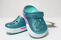 Кроксы детские оригинал. Сабо Crocs Crocband бирюзовые блестящие