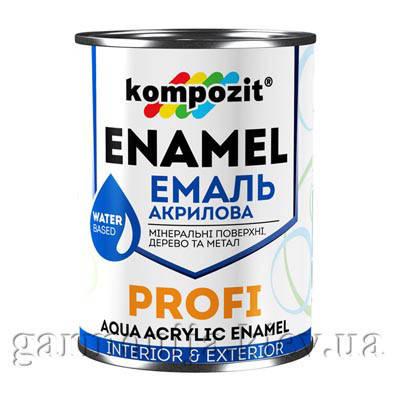 Эмаль акриловая PROFI Kompozit, 0.8 л Белый, Шелковисто-матовая, фото 2