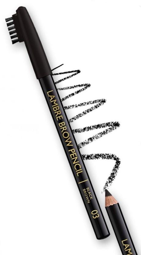 Карандаш для бровей LAMBRE BROW PENCIL №03 Чёрно-коричневый