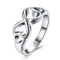"""Кольцо женское Бесконечность """"Loving Hearts"""" покрытие серебро"""