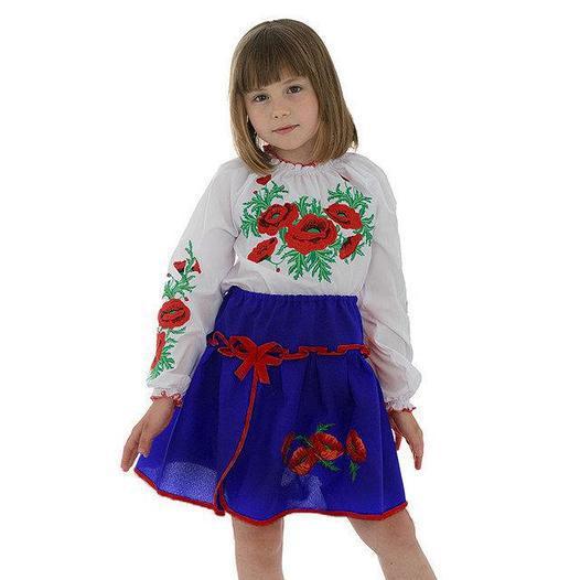 Детская юбка в украинском стиле синего цвета