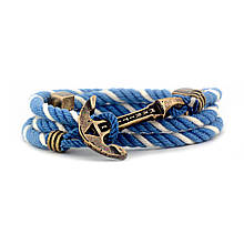 """Браслет із канатної бавовни з якорем із ювелірної латуні MARITIME """"Nautical Light"""". Колір біло-блакитний"""