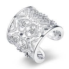 """Кольцо женское безразмерное широкое """"Сказка"""" покрытие серебро"""