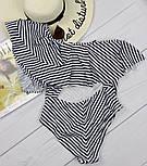 Жіночий відрядний купальник у смужку з воланами, фото 3