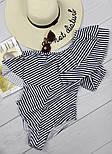 Жіночий відрядний купальник у смужку з воланами, фото 2