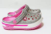 Кроксы  женские оригинал. Сабо Crocs Crocband блестящие серебристые