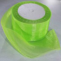 Органза лента. Цвет - зеленый. Ширина - 5 см, длина - 23 м