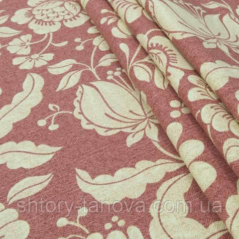 Декоративная ткань для штор, большие цветы светло-бордовый