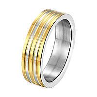 """Кольцо классическое два цвета """"Классические линии"""" с покрытием серебро"""