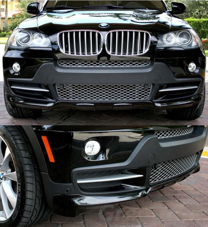 Губа накладка на передний бампер обвес BMW X5 E70 стиль Performance
