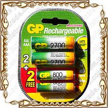 Набор аккумуляторов GP 2700 mAh/ 2 шт. АА + 800 mAh/ 2шт. ААА