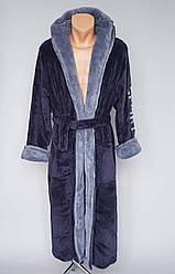 Махровый мужской халат темно-серого цвета с вышивкой« Sport» на рукаве (L-6XL)