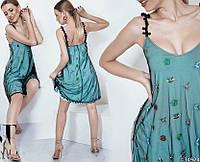 Летнее платье с сеткой и вышивкой 16535