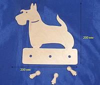 Вешалка Собака с гвоздиками 20х20 см фанера заготовка для декора