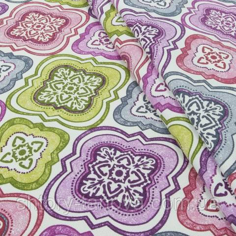 Декоративная ткань для штор с принтом яркий мультиколор
