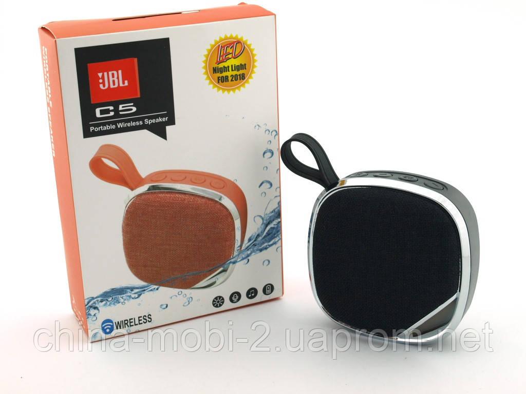 JBL C5 3W LED копія, портативна колонка c MP3 Bluetooth FM і ліхтариком, чорна