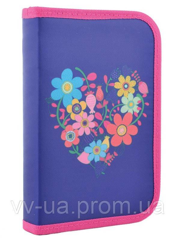 Пенал для школы твердый одинарный Smart Flowers blue, 20.5*13*3.2 (531656)