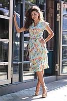 Платье-халат на запах яркий цветочный принт