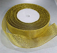 Лента люрекс(парча). Цвет - золото. Ширина - 2,5 см, длина - 23 м