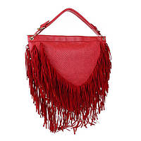 Объемная женская сумка с бахромой полукруглая (Европа) Красный