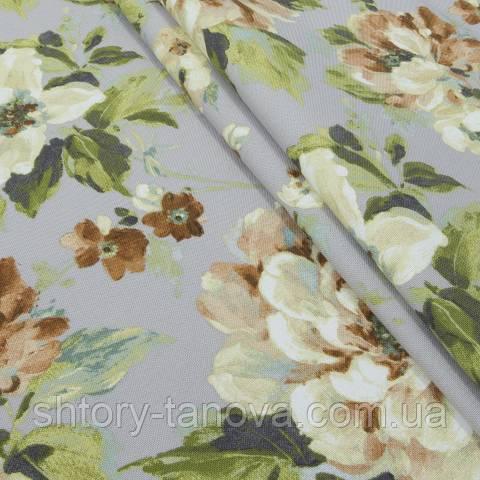 Декоративная ткань для штор, крупные цветы