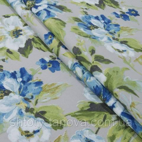 Декоративная ткань для штор, крупные цветы серо-синий