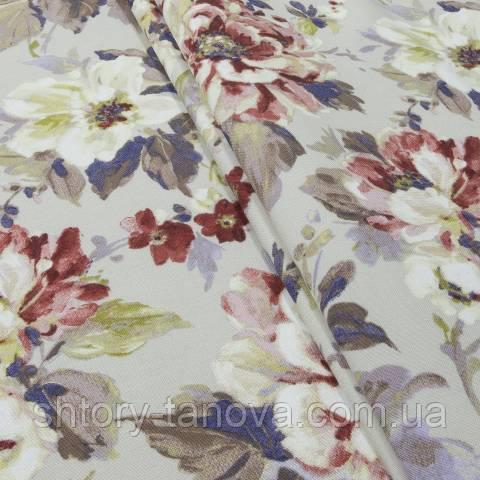 Декоративная ткань для штор, крупные цветы бежево-красный