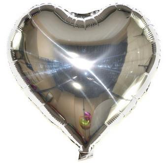 Шар сердце фольгированная, СЕРЕБРО - 25 см (10 дюймов)