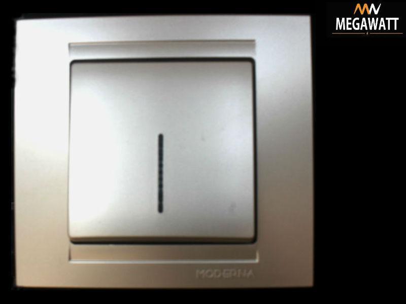 Вимикач срібло 1й  з підсвіткою MODERNA GUNSAN