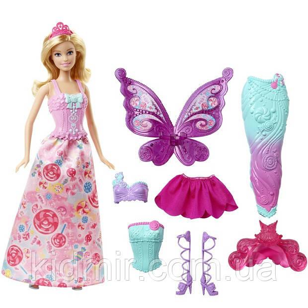 Лялька Барбі Перевтілення Принцеса, Русалка, Фея Метелик Barbie Fairytale Dress DHC39