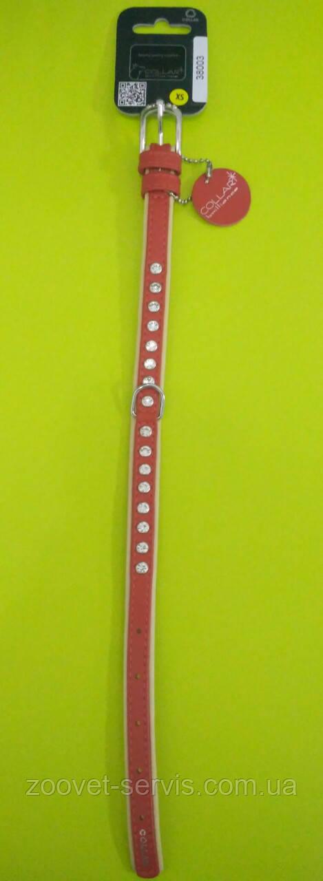 Ошейник премиум двойной со стразамиCollar brilliance ширина 15мм длина 27-36 красный 38003
